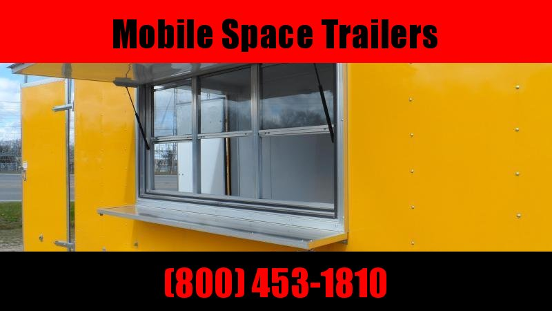 Covered Wagon Trailers 7x14 7' 3x6 Window Yellow Vending Enclosed Cargo Concesion