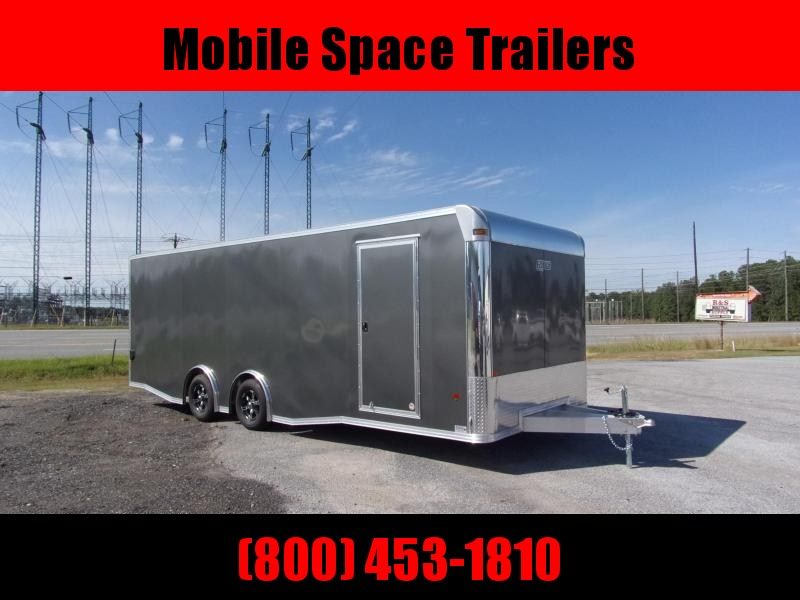 2019 Mission 8.5x24 Char Coal Grey spread axle ramp door aluminum floor enclosed cargo car hauler trailer