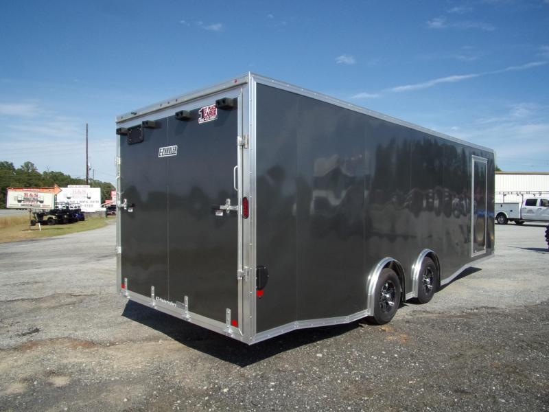 2019 Mission 8.5x24 Char Coal Grey spread axle ramp door aluminum floor enclosed cargo car hauler trailer