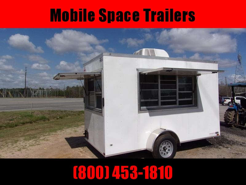 Covered Wagon Trailers 6x12 7' 3x5 and  3x6 Window 3 Sink pkg  Cabinets White Vending Enclosed Cargo Concesion