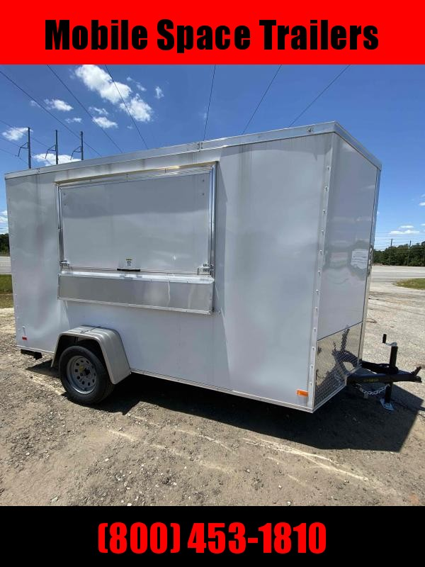 Covered Wagon WHITE Enclosed Cargo Concesion 6x12 7' 3x6 Window