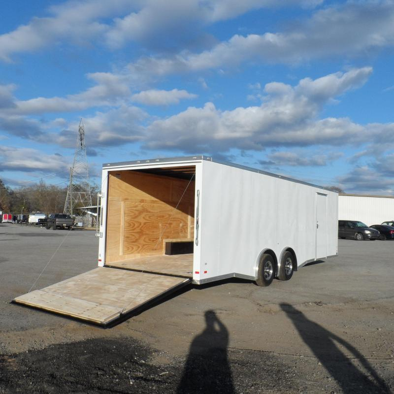 2019 Covered Wagon Trailers 8.5x26 White Spread axles ramp door Enclosed Cargo
