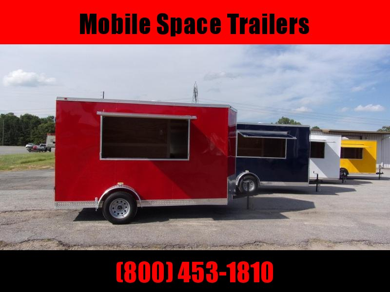 EagleCargo Trailers 6x12 7' 3x6 Window RED Enclosed Cargo Concesion