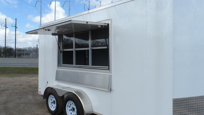 2019 Covered Wagon Trailers 7x14 7' 3x6 Window White Vending Enclosed Cargo Concesion
