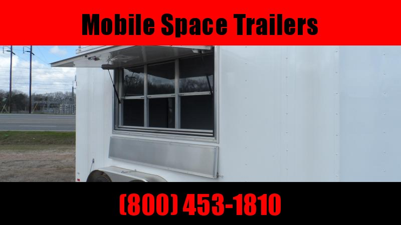 Covered Wagon Trailers 7x14 7' 3x6 Window White Vending Enclosed Cargo Concesion
