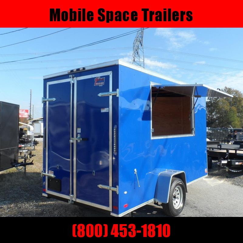 2019 Covered Wagon Trailers 6x12 7' 3x6 Window Blue Enclosed Cargo Concesion