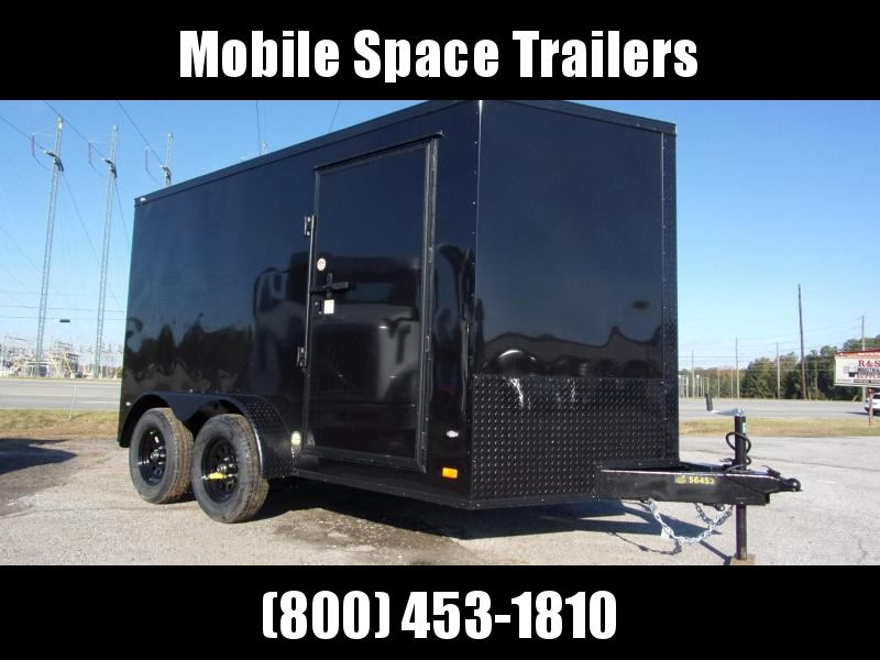 2020 Covered Wagon Trailers 7X12 030 Black Blackout Tadem Axle SemiScrewless Enclosed Cargo Trailer