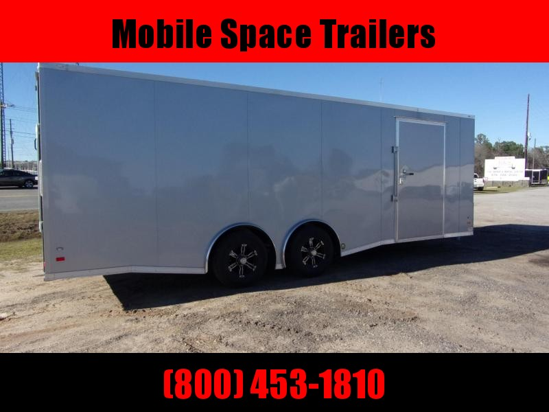 Covered Wagon Trailers 8.5x24  Silver Spread axles ramp door Enclosed Cargo