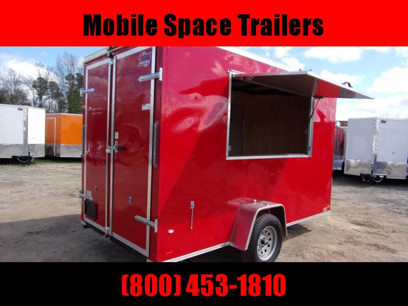 2019 Covered Wagon Trailers 6x12 7' 3x6 Window  Red vending Enclosed Cargo Concesion