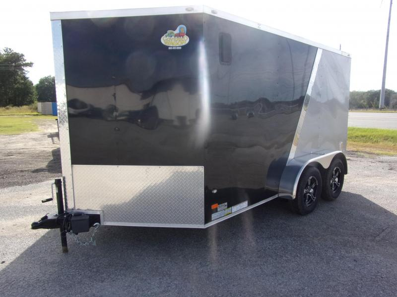 2019 Covered Wagon Trailers 7x12 MCP Bk and Sliver Anodized ramp door Enclosed Cargo Trailer