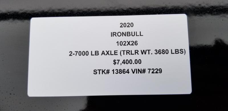 2020 IRON BULL 102 X 26 GOOSENECK DRIVE OVER FENDERS EQUIPMENT HAULER TRAILER