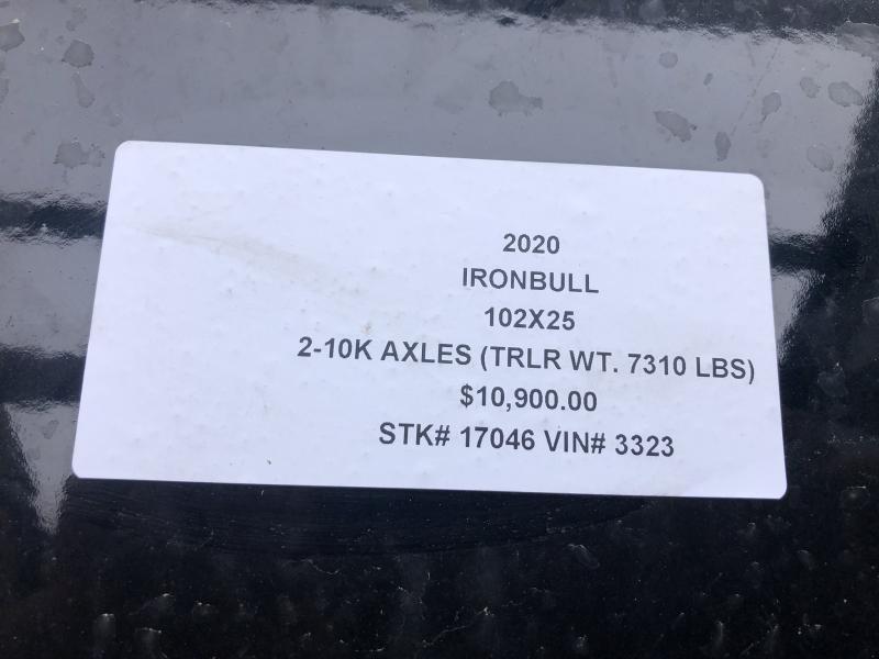 2020 IRON BULL 102X25 GOOSENECK DECKOVER FLATBED LOPRO TRAILER W/10K AXLES