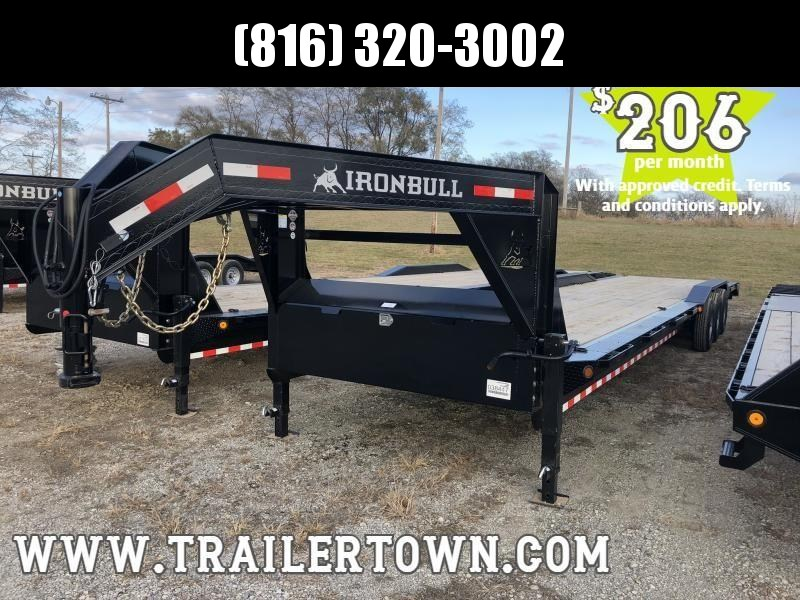 2020 IRON BULL 102X44 GOOSENECK EQUIPMENT TRAILER WITH TRIPLE AXLES