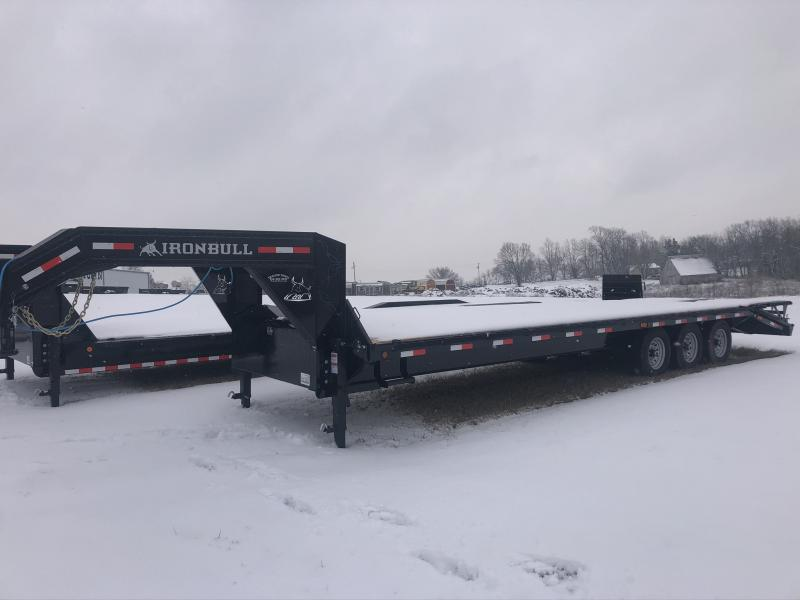2020 IRON BULL 102X30 GOOSENECK DECK OVER FLAT BED EQUIPMENT TRAILER WITH TRIPLE AXLES