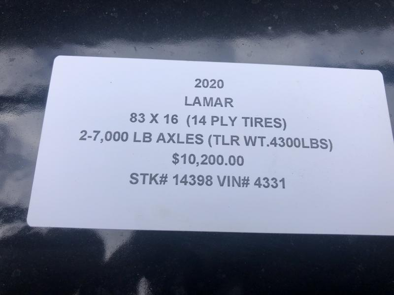 2020 LAMAR 83X16 GOOSENECK DUMP LOPRO TRAILER W/ 14PLY TIRES