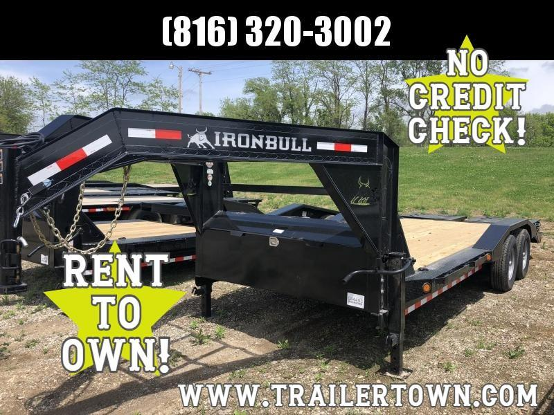 2020 IRON BULL 102 X 20 GOOSENECK EQUIPMENT HAULER TRAILER W/ DRIVE OVER FENDERS
