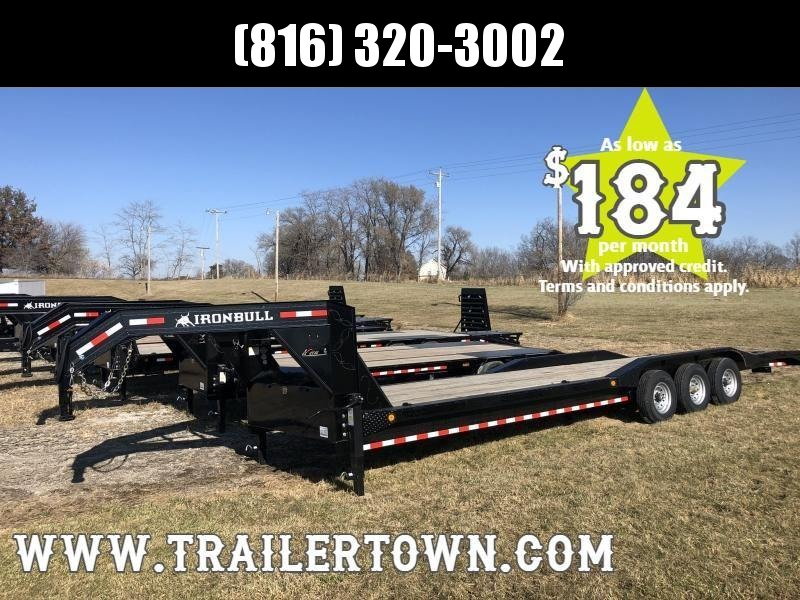 2020 IRON BULL 102 X 32 GOOSENECK TRIPLE AXLE EQUIPMENT HAULER TRAILER W/DRIVE OVER FENDERS