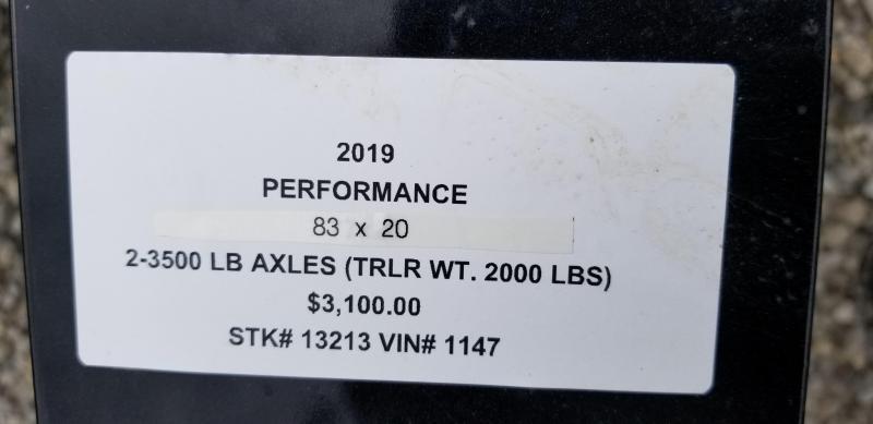 "2019 PERFORMANCE 83"" X 20 UTILITY TRAILER"