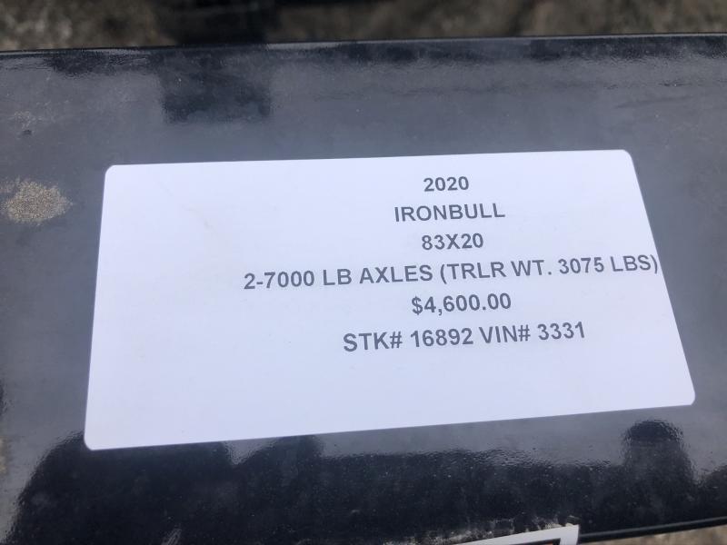 2020 IRON BULL 83X20 EQUIPMENT HAULER TRAILER