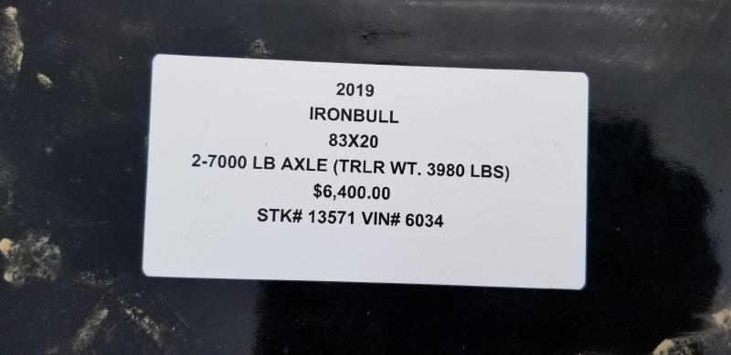 2019 IRON BULL 83X20 TILT LOPRO EQUIPMENT HAULER TRAILER