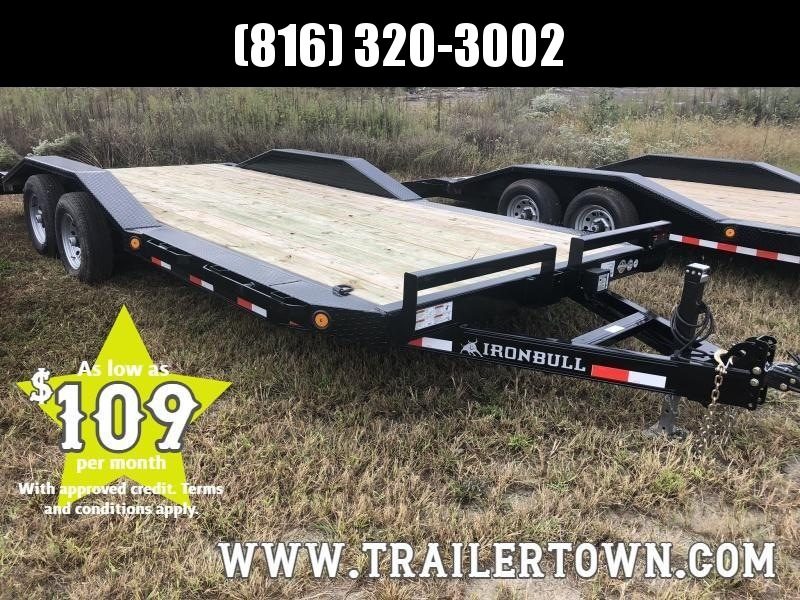 2020 IRON BULL 102 X 20 EQUIPMENT HAULER TRAILER WITH DRIVE OVER FENDERS
