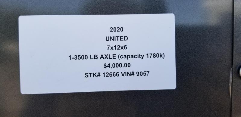 2020 UNITED 7 X 12 X 6 ENCLOSED CARGO TRAILER