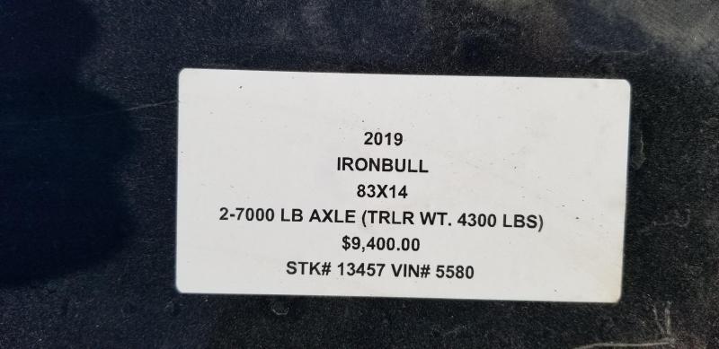 "2019 IRON BULL 83x14 BUMPER DUMP LOPRO TRAILER W/ 36"" SIDES"