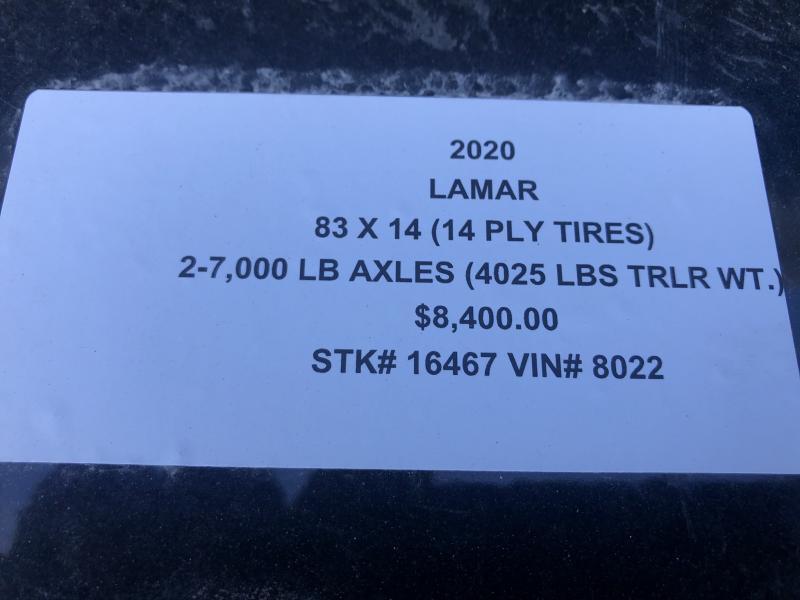 2020 LAMAR 83X14 DUMP LOPRO TRAILER W/14 PLY TIRES