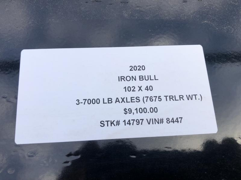 2020 IRON BULL 102X40 GOOSENECK EQUIPMENT TRAILER WITH TRIPLE AXLES