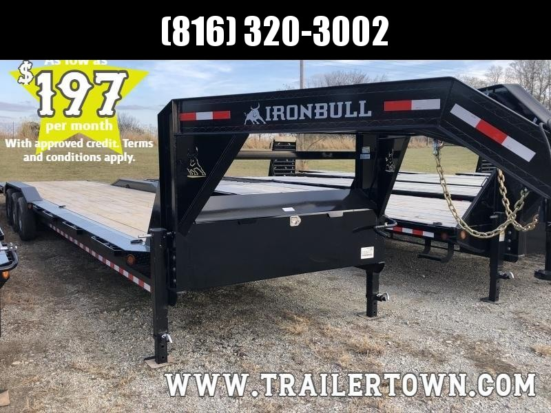 2020 IRON BULL 102X40 GOOSENECK EQUIPMENT TRAILER WITH TRIPLE AXLES