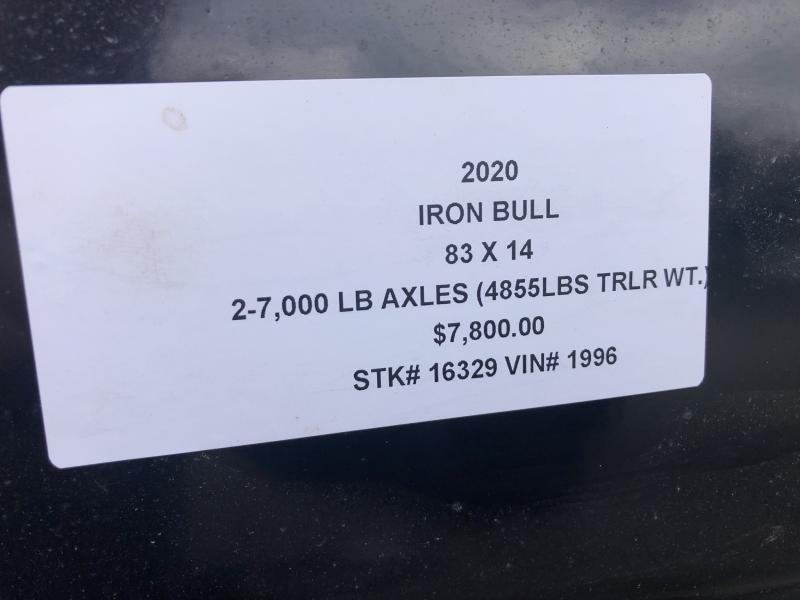 2020 IRON BULL 83X14 DUMP TRAILER