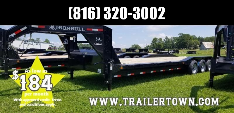 2019 IRON BULL 102 X 32 GOOSENECK TRIPLE AXLE EQUIPMENT HAULER TRAILER W/DRIVE OVER FENDERS