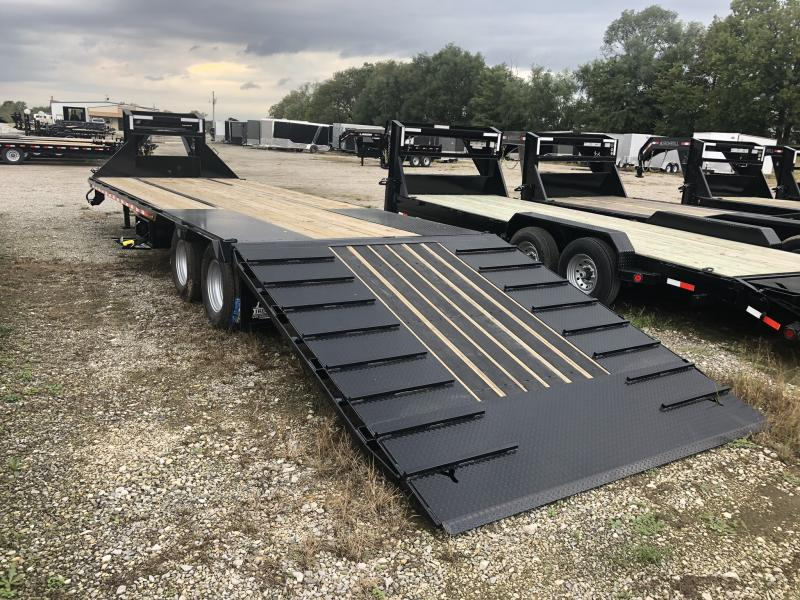 2020 IRON BULL 102X32 GOOSENECK LOPRO DECK OVER FLAT BED TRAILER W/ HYDRAULIC DOVE TAIL AND 10K AXLES