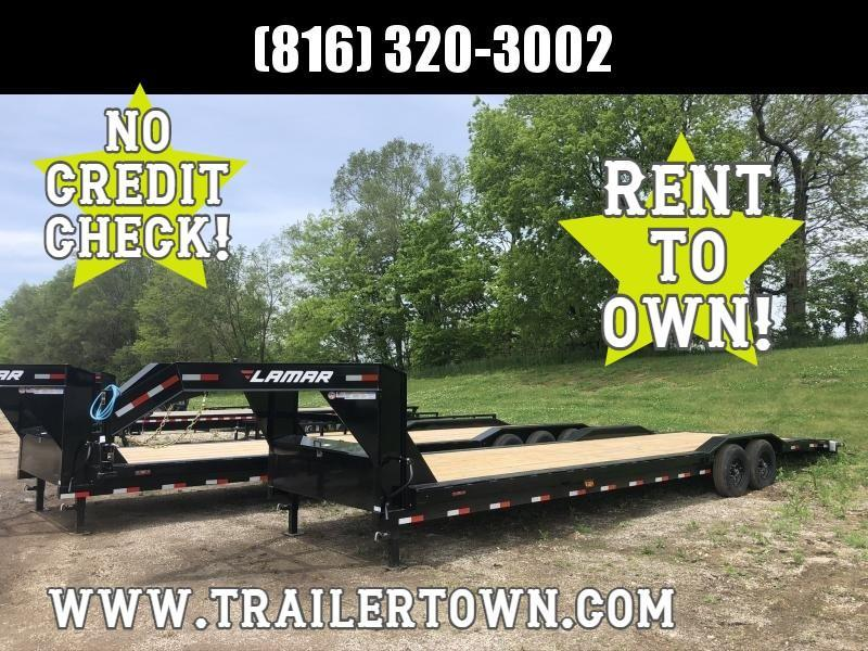 2020 LAMAR 102 X 32 GOOSENECK EQUIPMENT TRAILER WITH DRIVE OVER FENDERS