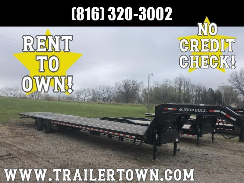 2020 IRON BULL 102X40 GOOSENECK LOPRO DECK OVER FLAT BED TRAILER WITH HYDRAULIC DOVE TAIL AND 15K AXLES