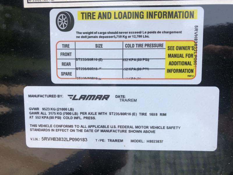 2020 LAMAR 102 X 38 GOOSENECK TRIPLE AXLE EQUIPMENT HAULER TRAILER W/DRIVE OVER FENDERS