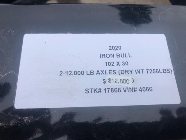 2020 IRON BULL 102X30 DECKOVER PINTLE EQUIPMENT HAULER TRAILER W/12K AXLES