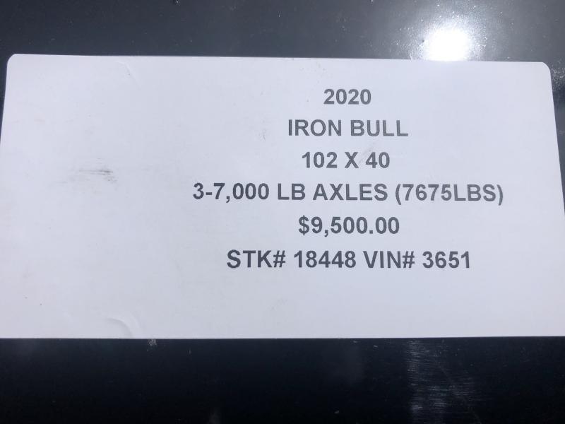 2020 IRON BULL 102 X 40 GOOSENECK TRIPLE AXLE EQUIPMENT HAULER TRAILER W/DRIVE OVER FENDERS