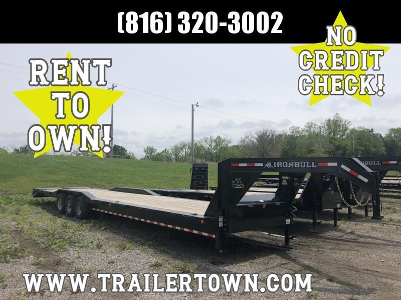 2020 IRON BULL 102 X 40 GOOSENECK TRIPLE AXLE EQUIPMENT HAULER TRAILER W/DRIVE OVER FENDERS