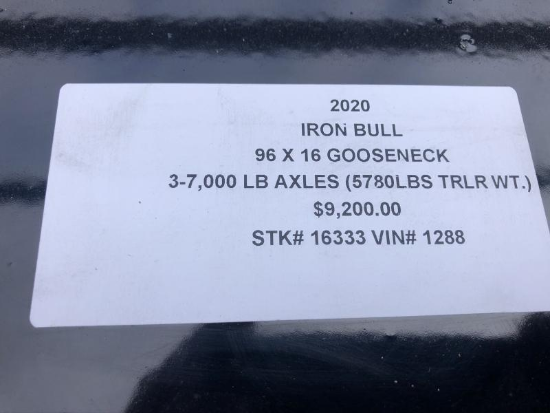 2020 IRONBULL  96X16 GOOSENECK TRIPLE AXLE DUMP DECKOVER LOPRO TRAILER