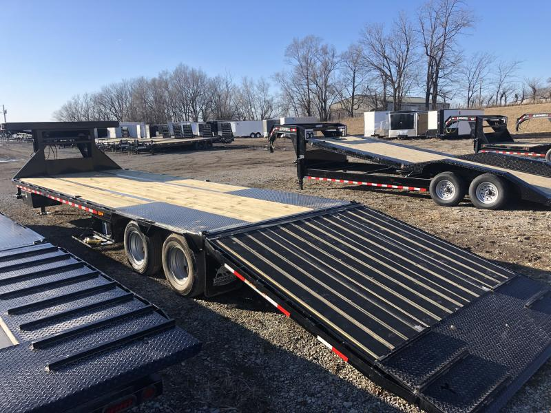 2020 IRON BULL 102X34 GOOSENECK LOPRO DECK OVER FLAT BED TRAILER W/ HYDRAULIC DOVE TAIL AND 10K AXLES