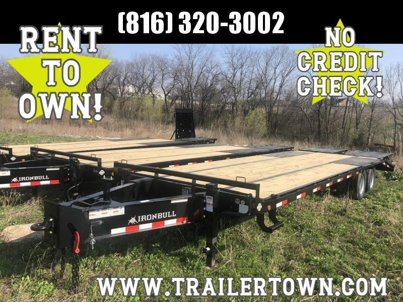 2020 IRON BULL 102X28 DECKOVER PINTLE EQUIPMENT HAULER TRAILER W/12K AXLES
