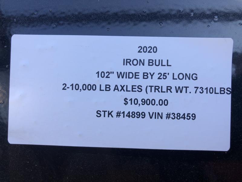 2020 IRON BULL 102X25 GOOSENECK LO PRO DECKOVER FLATBED TRAILER