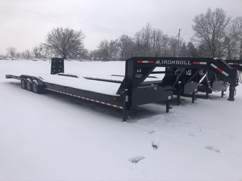 2020 IRON BULL 102X40 GOOSENECK EQUIPMENT TRAILER WITH TRIPLE AXLES AND DRIVE OVER FENDERS