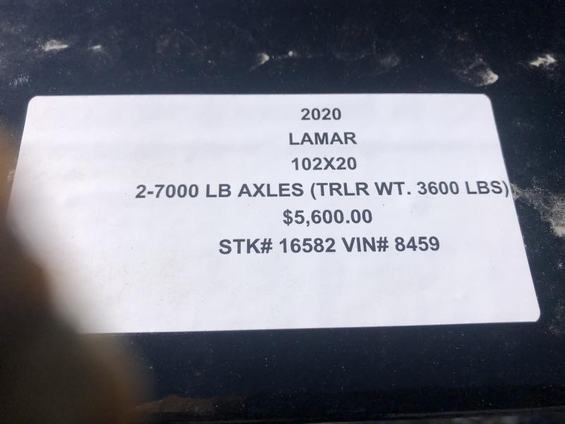 2020 LAMAR 102x20 DECKOVER EQUIPMENT TRAILER W/7K AXLES