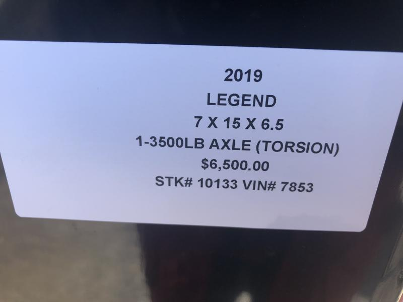 2019 LEGEND 7 X 15 X 6.5 CARGO TRAILER WITH TORSION AXLE