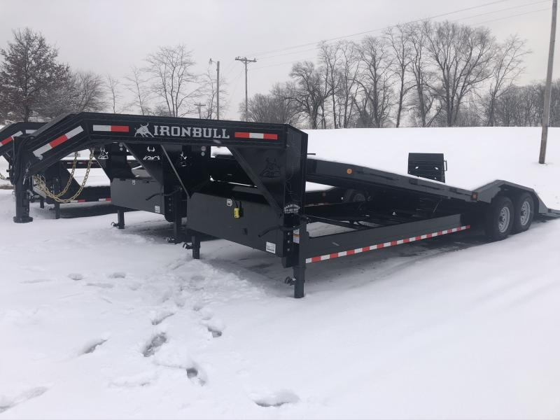 2020 IRON BULL 102X26 GOOSENECK HYDRAULIC TILT LOPRO EQUIPMENT TRAILER