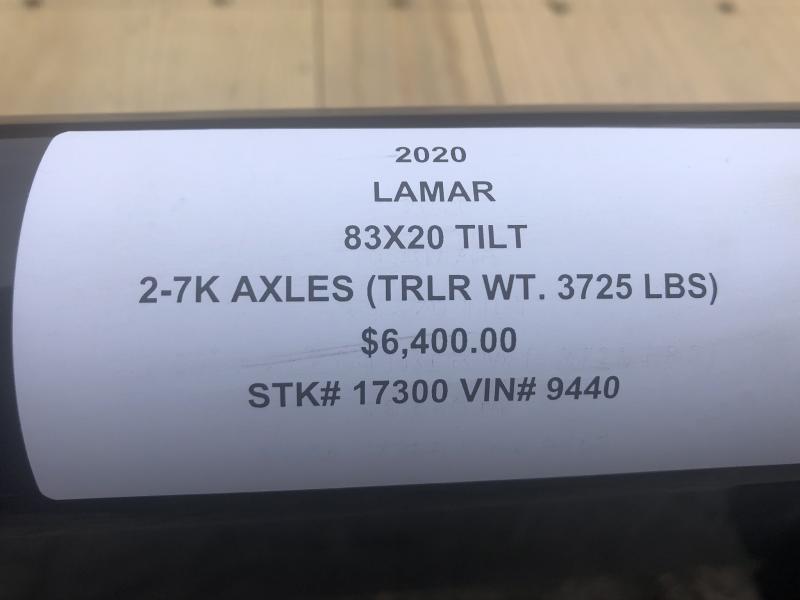 2020 LAMAR 83X20 TILT EQUIPMENT TRAILER W/7K AXLES