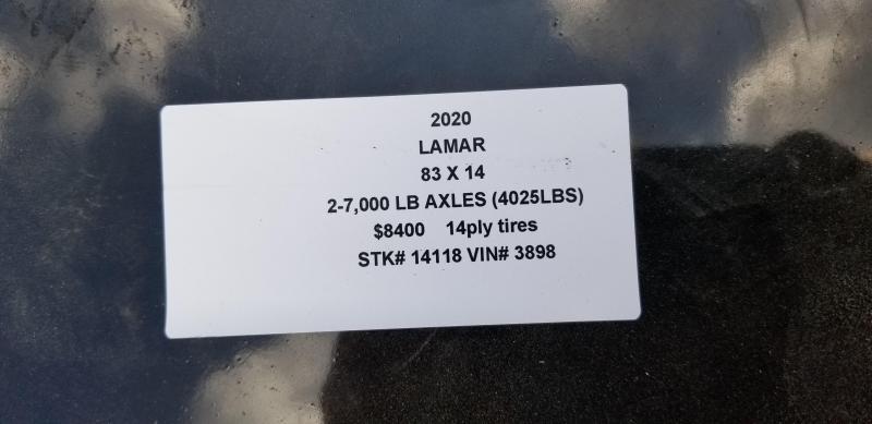 2020 LAMAR 83X14 DUMP LOPRO TRAILER W/ 14 PLY TIRES