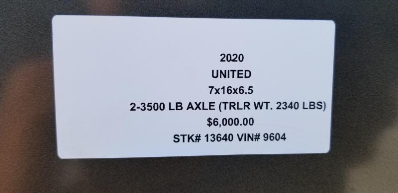 2020 UNITED 7 X 16 X 6.5 ENCLOSED CARGO TRAILER
